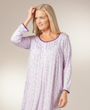 Eileen West Knit Nightgowns - Modal Long Sleeve Gowns in Plum Drizzle