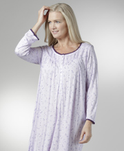Plus Eileen West Modal Gowns - Long Sleeve Knit Gowns in Plum Drizzle