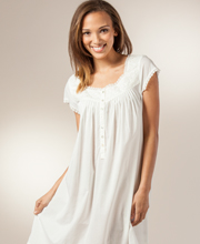 Eileen West Cotton Short Sleeve Mid Length Nightgown In Ivory Cherish