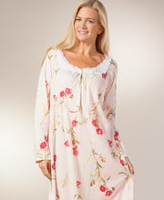 Long Sleeve Plus Nightgowns - Carole Hochman Cotton Knit Gown - Lace Beauty