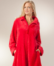 Plus Zip Front Bathrobes - Long Rose Embossed Fleece Robe in Red