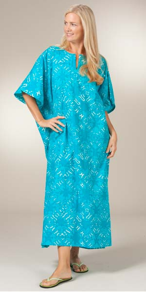 Cotton Caftans By Peppermint Bay One Size Teal And White