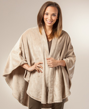 Natori Loungewear Wrap - Women's Cozy 100% Polyester Cape in Champagne or Brown