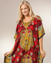 One Size Long Caftans - Polyester Caftan by Sante in Ruby Veil