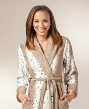 Long Bathrobe - Plush Fleece Long Sleeve Wrap Robe in Speckled Tan