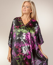 Caftans - Santé Long Satin Beaded Neckline Lounger in Orchid Incense