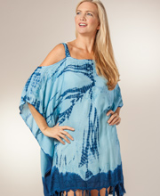 Short Kaftan - Cold Shoulder One Size Beach Cover Up In Blue Tie-Dye