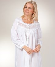 Cotton Eileen West Nightgown - Long Sleeve Ballet in Seville Blanca