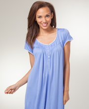 Eileen West 100% Modal Short Sleeve Ballet Nightgown in Feather Blue