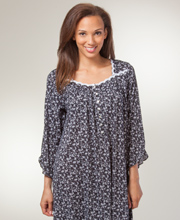Nightgown by Eileen West - Short Cotton Modal Knit with Elbow Sleeve - Sable Spangle
