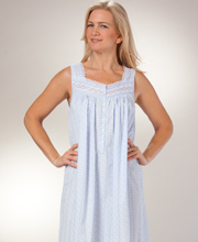 Cotton Eileen West Night Gown - Sleeveless Long Gown in Splendor Blue