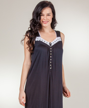 Eileen West Modal Nightgown - Sleeveless Knit Ballet in Midnight Lace