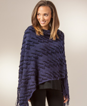 Sweater Ponchos - Traditional Poncho for Women in Indigo Panache