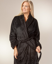 Long Waffle Fleece Wrap Mid-weight Robe in Black