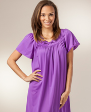 Plus Shadowline Petals Waltz Nightgown with Flutter Sleeves in Purple