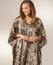 Sante Satin Caftans - Women's One Size Beaded V-Neck Kaftan - Barbados