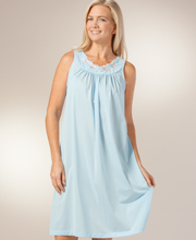 Shadowline Plus Size Nightgown - Sleeveless Petals Waltz in Soft Blue