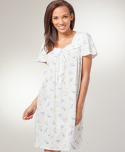 Short Nightgowns - Aria Cotton-Rich Short Sleeve Gown in White Saffron