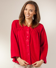 Miss Elaine Bed Jacket  - Snap Front Brushed Terry Fleece In Cranberry