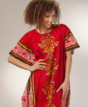 Caftans - Cotton Long in One Size Women's Caftan - Cactus Flower in Crimson