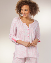 Cotton Pajamas Women's - Carole Hochman Knit Pajama Set for Women - Mosaic Dot