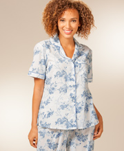 La Cera Cotton Pajamas - Short Sleeve PJs in Moonstone Roses