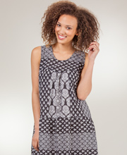 LaCera Dresses - Plus Cotton Sleeveless Dress in Midnight Leaves