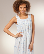 Eileen West Plus Size Nightgowns - Sleeveless Cotton in Dutch Blossoms