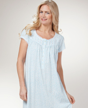 Eileen West Plus Size Cap Sleeve Cotton Knit Nightgown - Seaside Vines