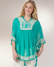 Cotton Kaftan Top - One Size Poncho in Seafoam Paisley