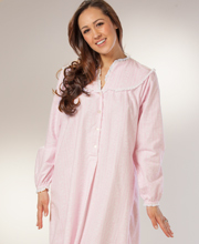 Cotton Flannel Nightgown - Lanz Classic V-Neck Long Gown - Pink Floral