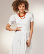 White Smocked Dress - Short Sleeve Long One Size Dress in Fiesta White