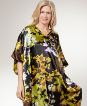 Plus Long Kaftans - Sante Beaded Neckline Satin Caftan - Orchid Dreams