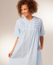 Miss Elaine Zip Robe - Seersucker Short Sleeve Smocked Short Robe in Blue Stripe