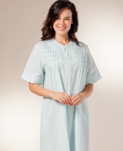 Miss Elaine Bathrobes - Zip Front Short Smocked Robe in Turquoise Stripe