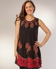One Size Beach Dress - Sleeveless Cover Up in Red Palms
