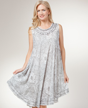 Beach Dress/Cover Up - Sleeveless Rayon/Cotton Floral in Grey