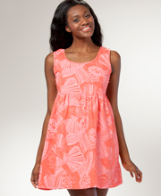 Beach Cover-up - I Can Too Babydoll Beach Dress - Seashell Fancy in Coral
