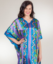 Plus Women's Silky Caftans - Winlar Satin Lounger Kaftan in Laurel Roses