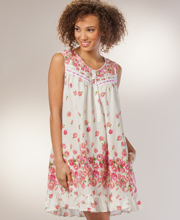 Cotton Short Nightgown - La Cera Sleeveless Waltz Gown in Sea Roses