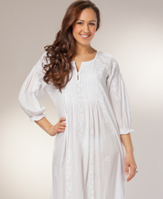 Cotton White Nightgown - La Cera Boutique 3/4 Sleeve Pintucked Gown