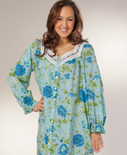 Cotton Long Robes - La Cera Button-Front Long Sleeve Gown - Blue Dusk
