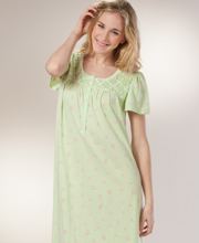 Long Nightgowns - Aria Cotton-Rich Short Sleeve Gown in Clover Patch