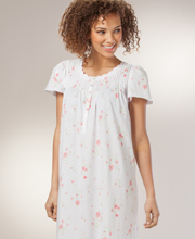 Long Aria Nightgowns - Cotton-Rich Short Sleeve Gown in White Zinnia