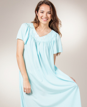 Miss Elaine Classics Nylon Ballet Length Nightgown - Seafoam