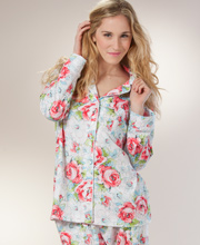 Womens Cotton Pajamas - Carole Hochman Cotton Knit PJs In River Rose