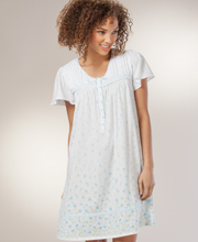 Short Nightgown - Cotton-Rich Aria Short Sleeve Gown - Bluebelle Ditsy