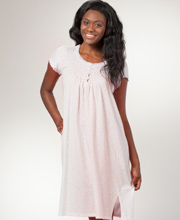 Short Nightgown - Miss Elaine Smocked Silkyknit Flutter Sleeve - Dainty Bouquet
