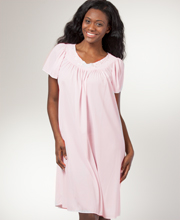 Silky Short Nightgown - Miss Elaine Classics Nylon Gown - Soft Pink