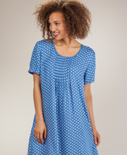 Casual Dress - La Cera Short Sleeve Rayon - Blue Polkadots